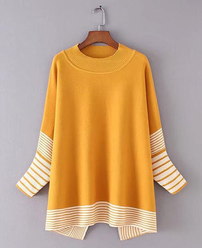Striped Knitted Side Split Sweaters