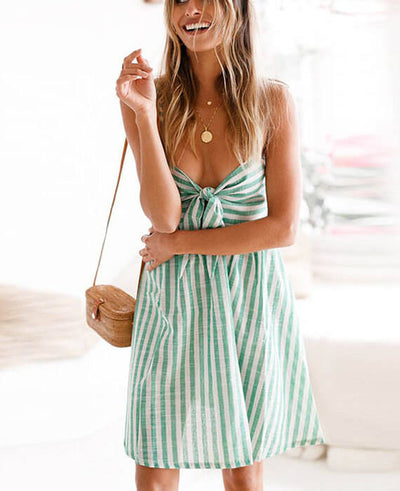Stripes Sexy Bow Tie Sleeveless Dresses
