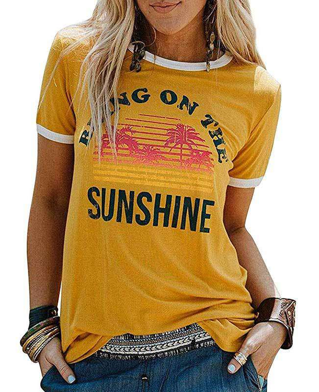 Sunshine Letter Print Short Sleeve T-shirt