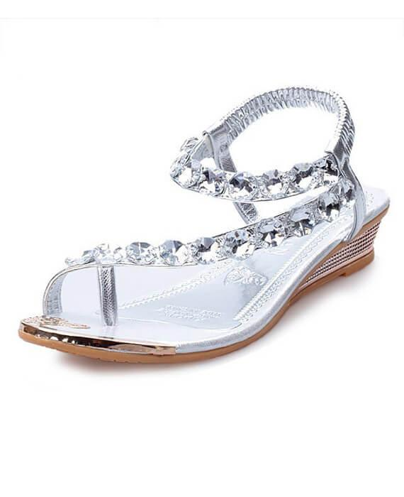 Sweet Bohemia Rhinestone Wedges Sandals