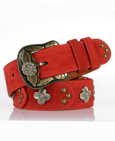 Women Carve Flower Pu Leather Belt