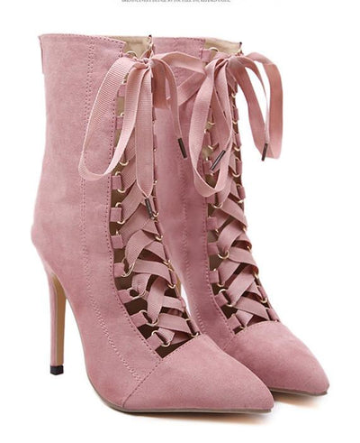 Lace Up Ankle Boots Pointed Toe High Heel Boots Pink