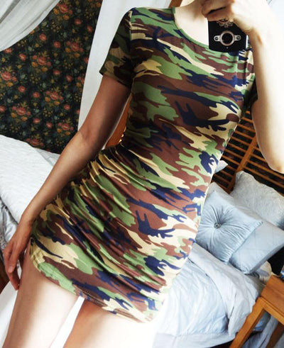 Green Camouflage Print Sexy Mini Dress