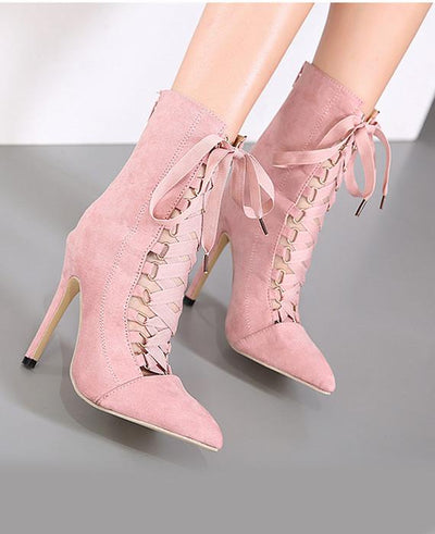 Lace Up High Heel Boots Pink