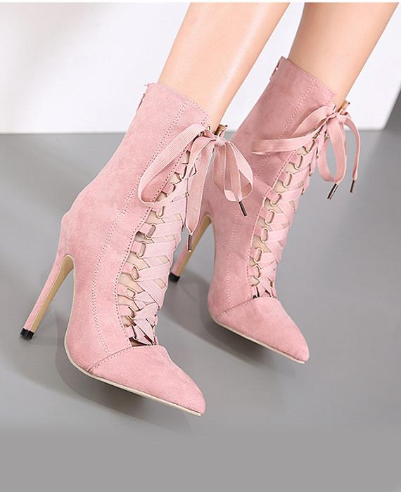 Lace Up High Heel Boots Pink Gladiator