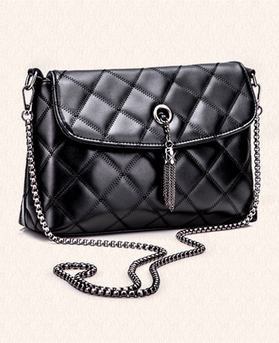 Classic Grid Chain Cowhide Leather Clutch Shoulder Bag