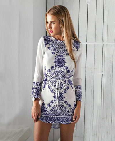 Long Sleeve Style Pattern Beach Dress Robe Party Dresses