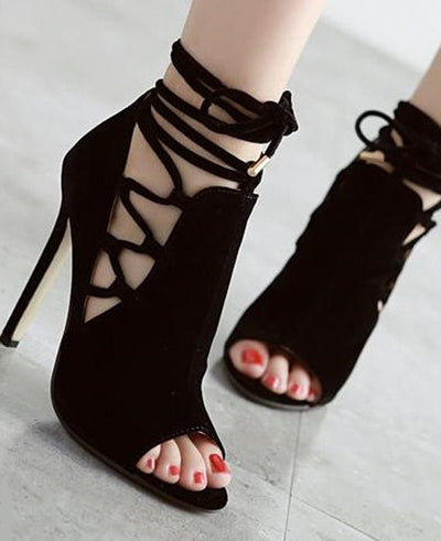 Roman Hollow Lace Up Thin High-heeled Sexy Sandals