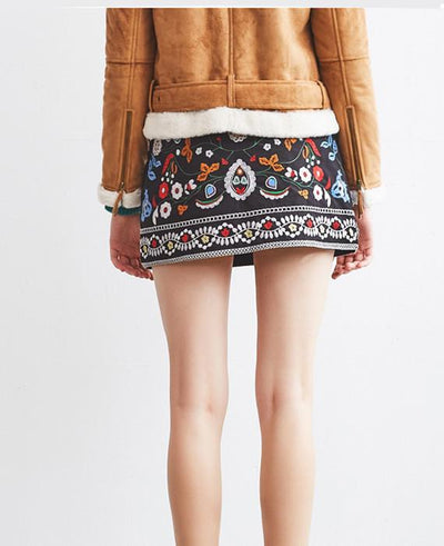 A-Line Mini Ethnic Short Black Embroidered Skirt