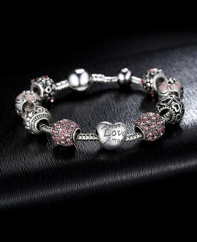 Silver Charm Bangle & Bracelet with Love and Flower Crystal Ball