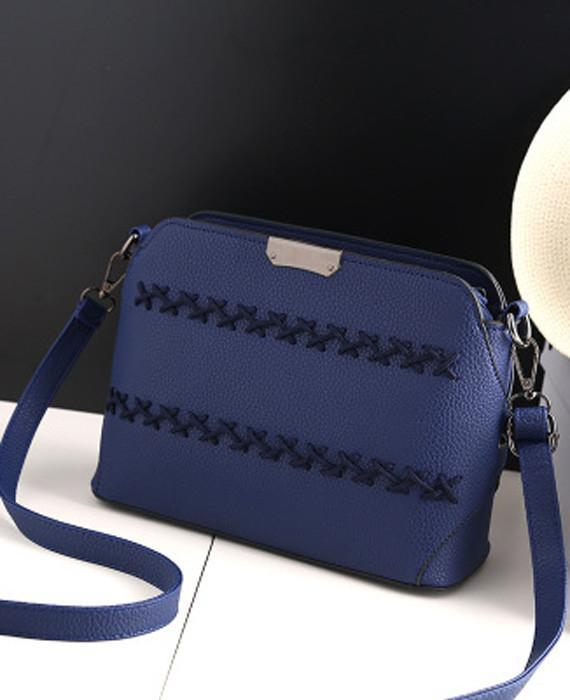 Ladies Solid Weave Small Flap Shoulder Bag