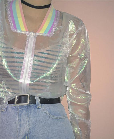 Clear Iridescent Transparent Bomber Jacket