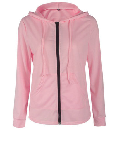 Solid Color Womens Hooded Jacket-5