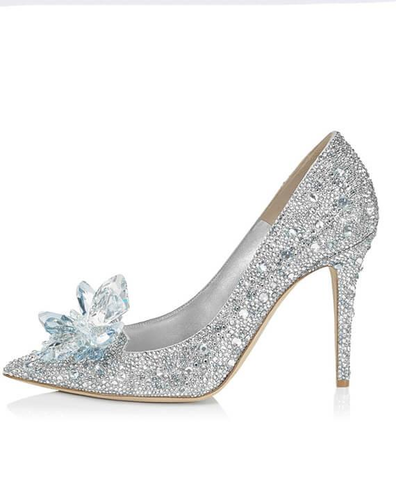 Lady Pumps Pointed Toe Crystal Wedding Shoes