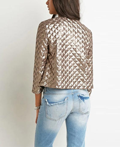 Spring Gold Sequins Jackets Three Quater Sleeve Coats