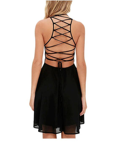 Cross Lace Up backless summer dresses-5