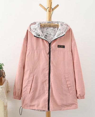 Zipper Hooded Womens Casual Jackets