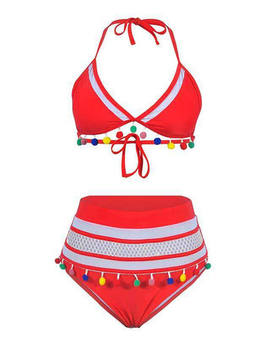 Tassel Hem High Waisted Bikini Set-21