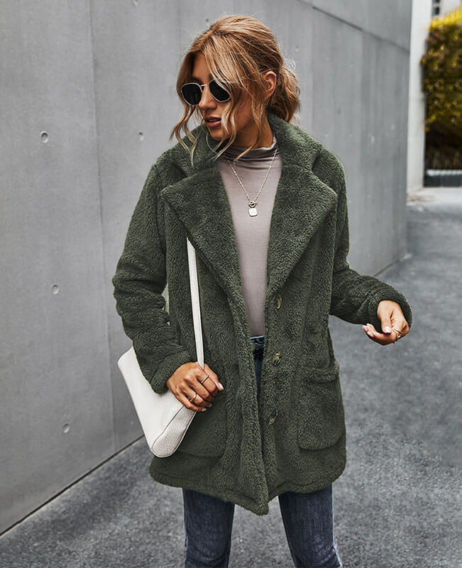 Turn Down Collar Women Furry Coat