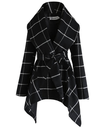 Turn Down Shawl Collar Plaid Wool Coat Womens  Plaid Peacoat