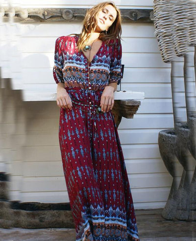 V-Neck Floral Printed Half Sleeve Split Beach Dress