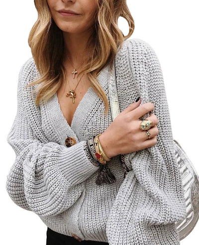 V-Neck Sweater Long Sleeve Cable Knit Cardigan