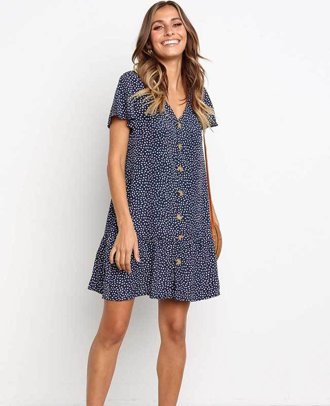 V Neck Button Floral Mini Dress