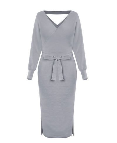 V Neck Long Sweater Dress-8