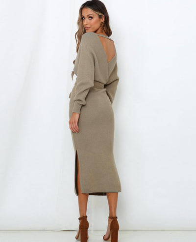 V Neck Long Sweater Dress-14