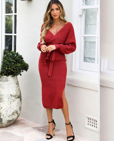 V Neck Long Sweater Dress