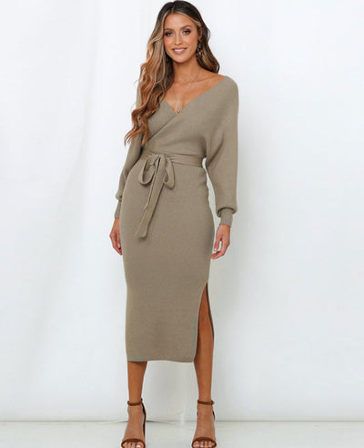 V Neck Long Sweater Dress-4