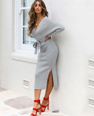 V Neck Long Sweater Dress-10