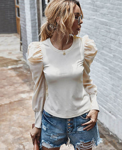 Long Puff Sleeve Top Blouse