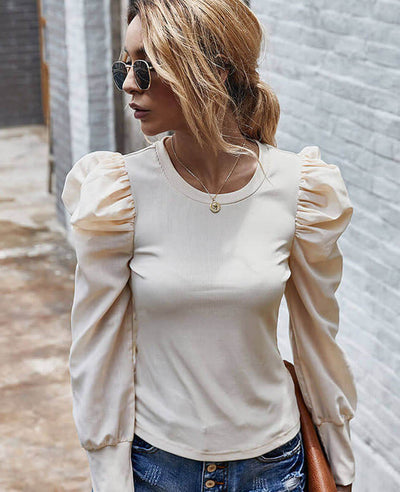 Vintage Style Long Puff Sleeve Top Blouse