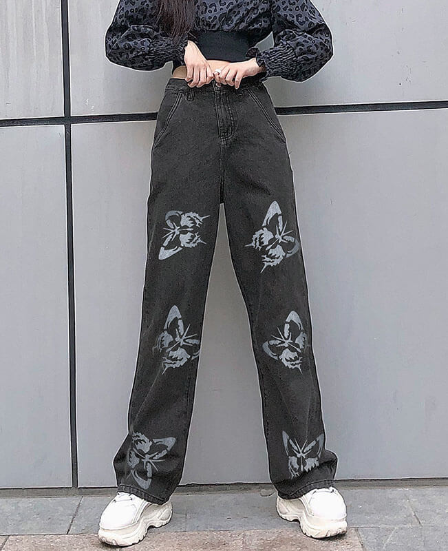 Vintage Style Loose Butterfly Pants Cowboy Trousers