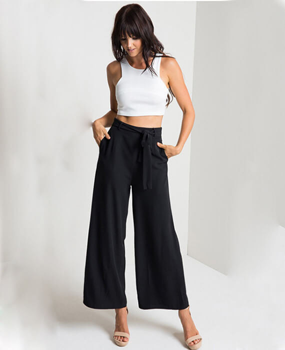 Vintage Loose Fit Bow Tie Ankle-Length Wide Leg Pants