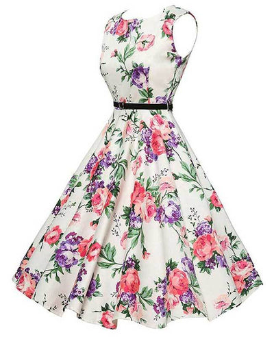 Vintage Sleeveless Floral Cocktail Dress