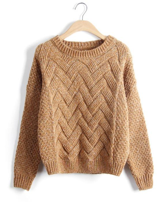 a71de6fff70251 O-Neck Long Sleeve Wave Knit Pullovers - Seamido
