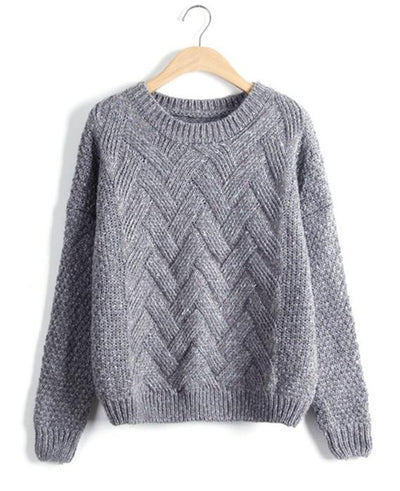 O-Neck Long Sleeve Wave Knit Pullovers