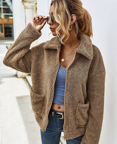 Winter Faux Fur Jacket Coat with Pocket