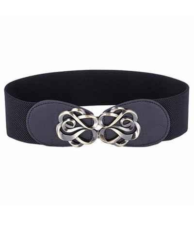 PU Wide Metal Buckle Stretchy Elastic Waist Belt