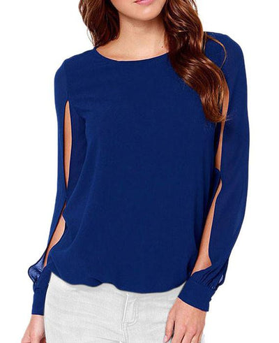 Chiffon Blouse Hollow out Long Sleeve Tops Shirt