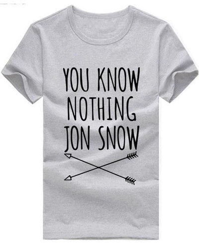 You Know Nothing Jon Snow Printed Letter T shirt
