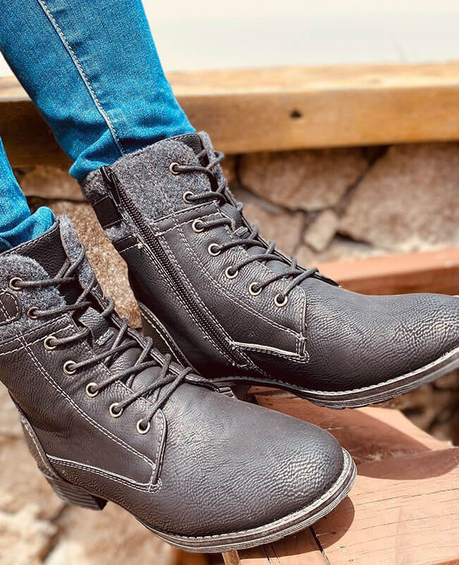 Women Ankle Lace Up Military Boots