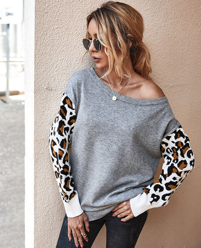 Women Long Sleeve Contrast Color Leopard Print Sweater