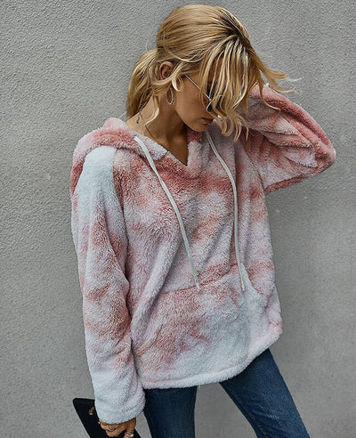 Women Fuzzy Fleece Tie Dye Hoodie Oversized Tie Dye Sherpa Pullover with Pocket