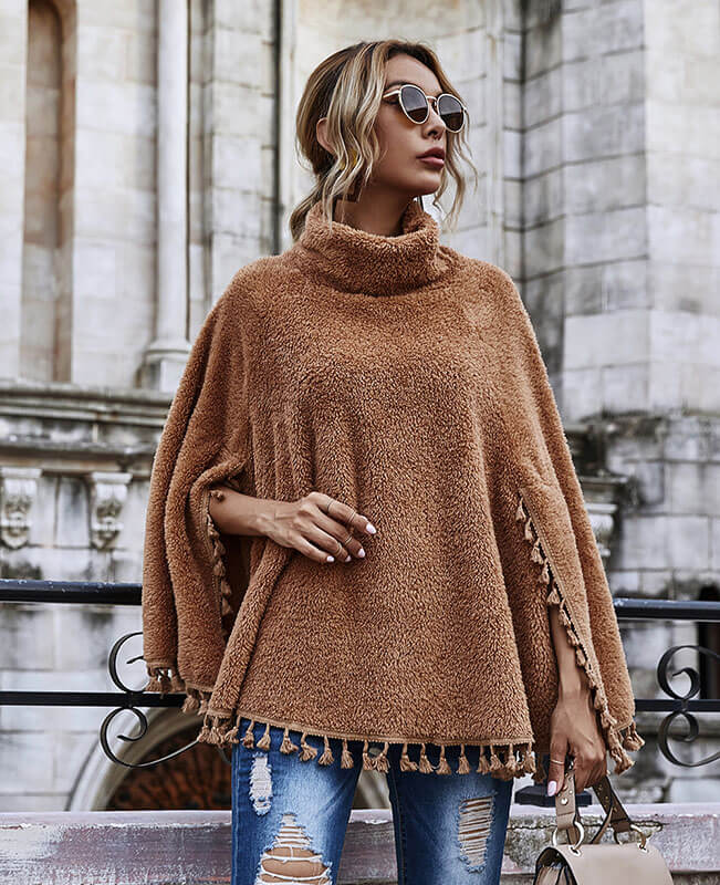 Women Turtleneck Poncho Sweater with Sleeves Trimmed Cape Coat