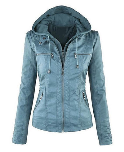 Women hooded faux leather jacket blue