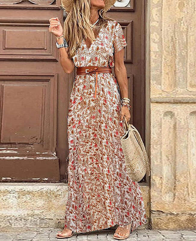Women's V-Neck Maxi Boho Dresses with Belt
