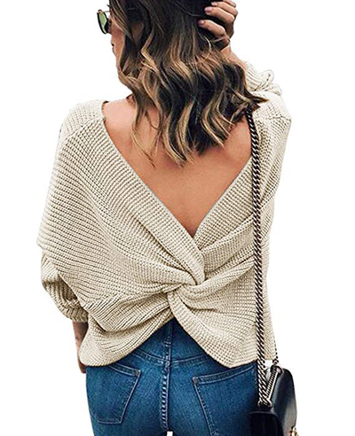 Women's sexy Cross Backless Pullover Batwing Knitted Sweate